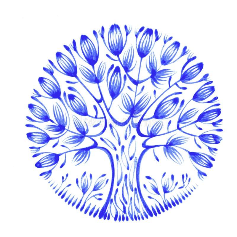 Círculo floral ilustração royalty free