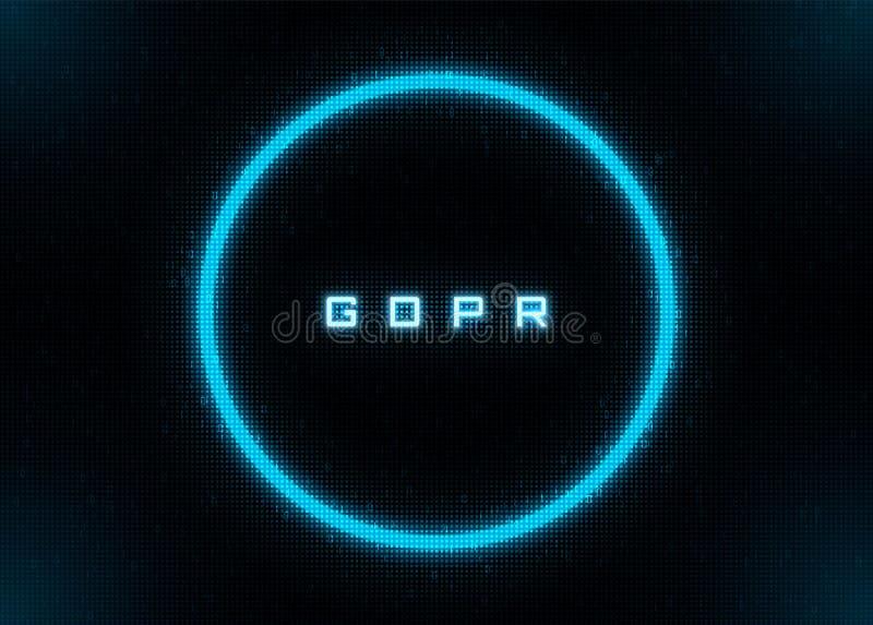Círculo futurista de neón azul con 1 y 0 los dígitos, GDPR stock de ilustración