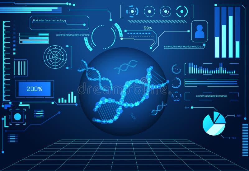Círculo futurista DN digital oscuro del concepto del ui abstracto de la tecnología stock de ilustración