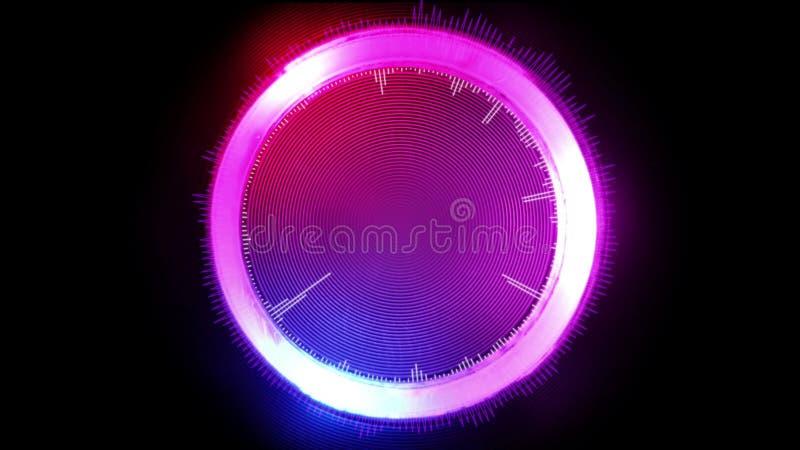 Círculo gráfico futurista del extracto, brillando intensamente en diversos colores, ejemplo 3D ilustración del vector