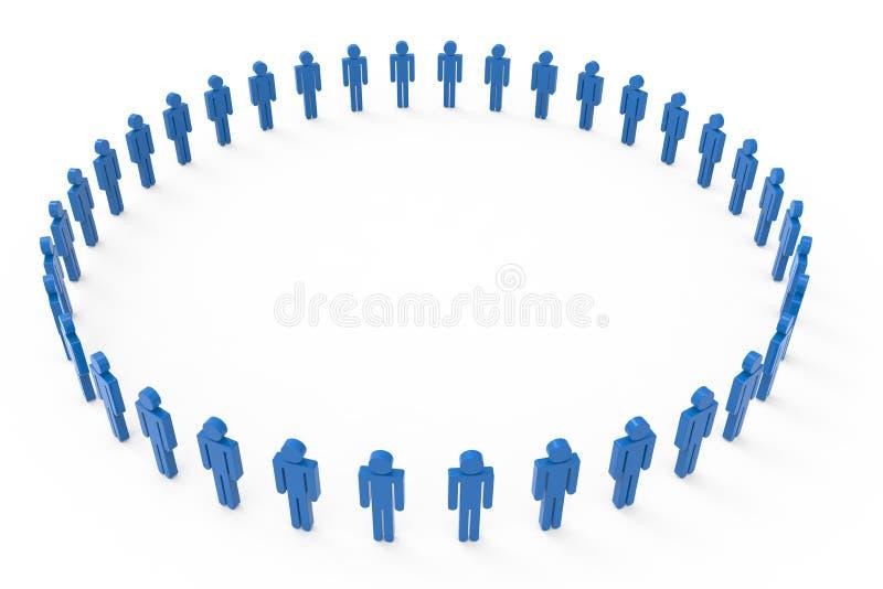 Círculo grande de las imágenes azules de los hombres stock de ilustración