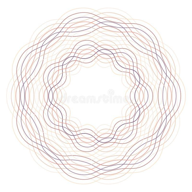 Círculo Guilloch en el vector, marco de la frontera del círculo ilustración del vector