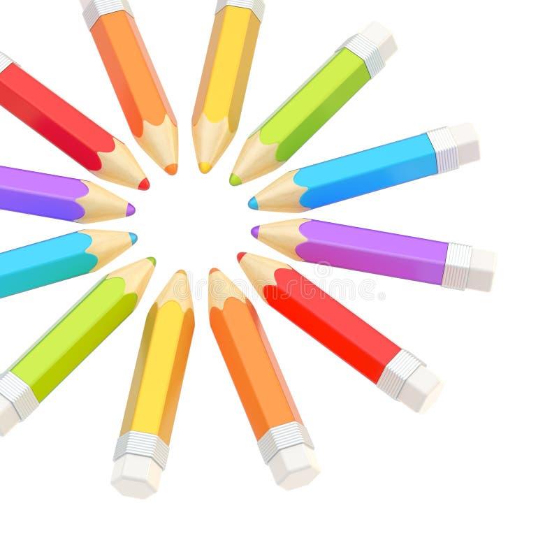 Círculo hecho de los lápices aislados libre illustration