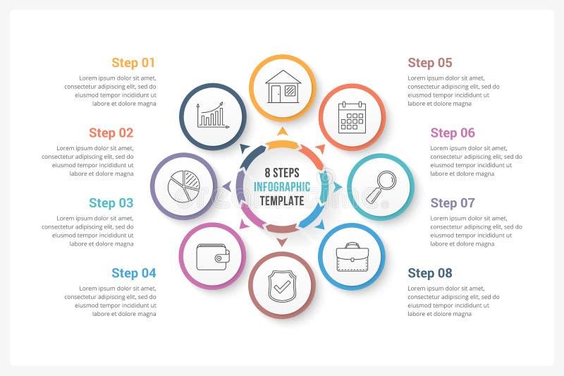 Círculo Infographics con ocho elementos libre illustration