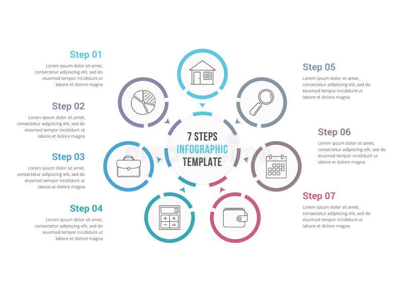 Círculo Infographics con siete elementos stock de ilustración