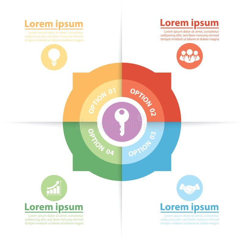 Círculo Infographics dos fatores de sucesso chaves ilustração do vetor