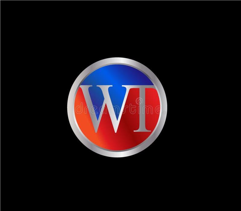Círculo inicial del PESO formar a Logo Design posterior color plata azul rojo stock de ilustración