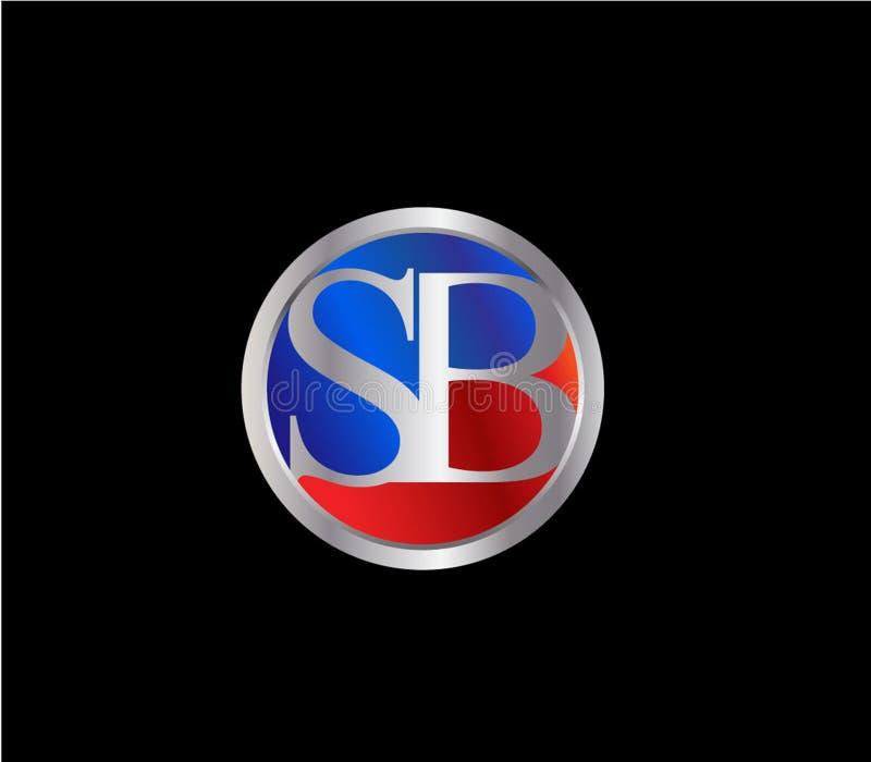 Círculo inicial del SB formar a Logo Design posterior color plata azul rojo ilustración del vector