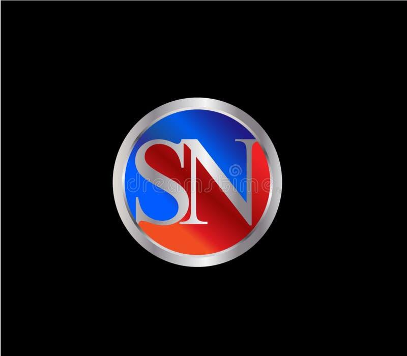 Círculo inicial del SN formar a Logo Design posterior color plata azul rojo ilustración del vector