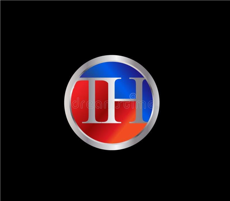 Círculo inicial del TH formar a Logo Design posterior color plata azul rojo libre illustration