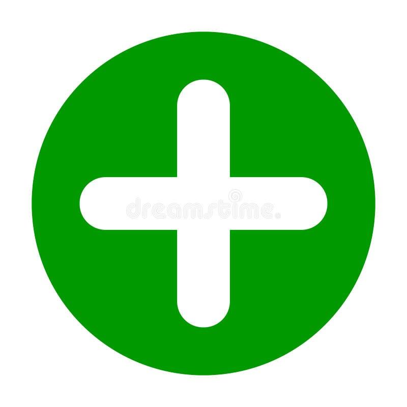 Círculo liso mais o ícone do verde do sinal, botão Símbolo positivo isolado no fundo branco ilustração royalty free