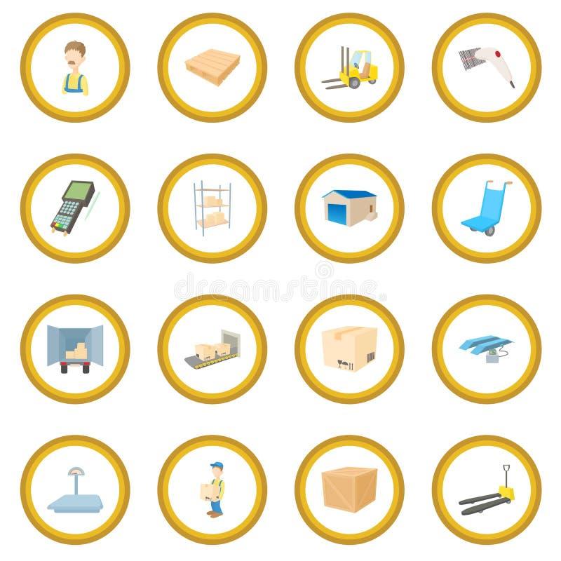 Círculo logístico del icono del almacenamiento de Warehouse libre illustration
