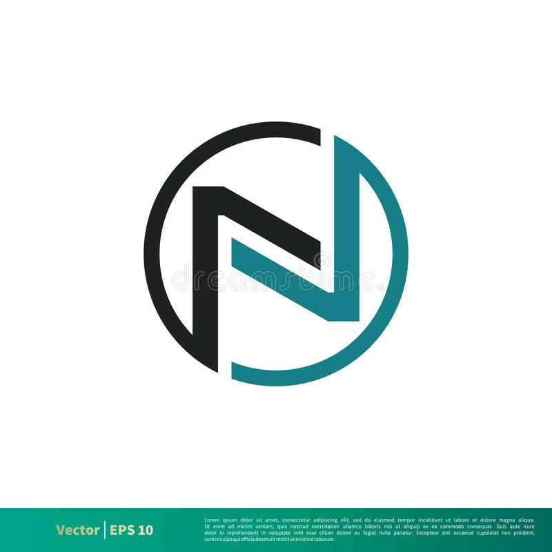 Círculo Logo Template Illustration Design da letra de N Vetor EPS 10 ilustração do vetor