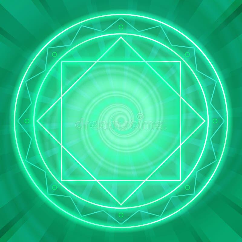 Círculo mágico, geometria sagrado, linhas de néon de incandescência ilustração royalty free