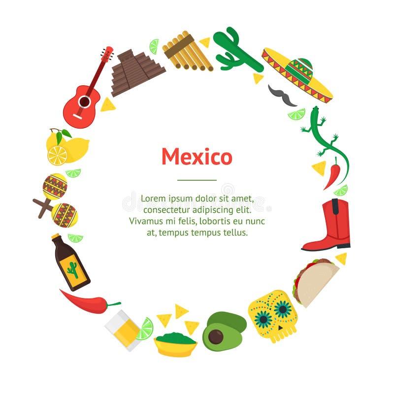 Círculo mexicano de la tarjeta de la bandera de la cultura de la historieta Vector libre illustration