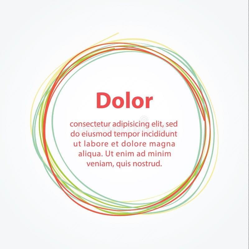 Círculo minimalistic del mano-drenaje del vector. Plantilla abstracta stock de ilustración