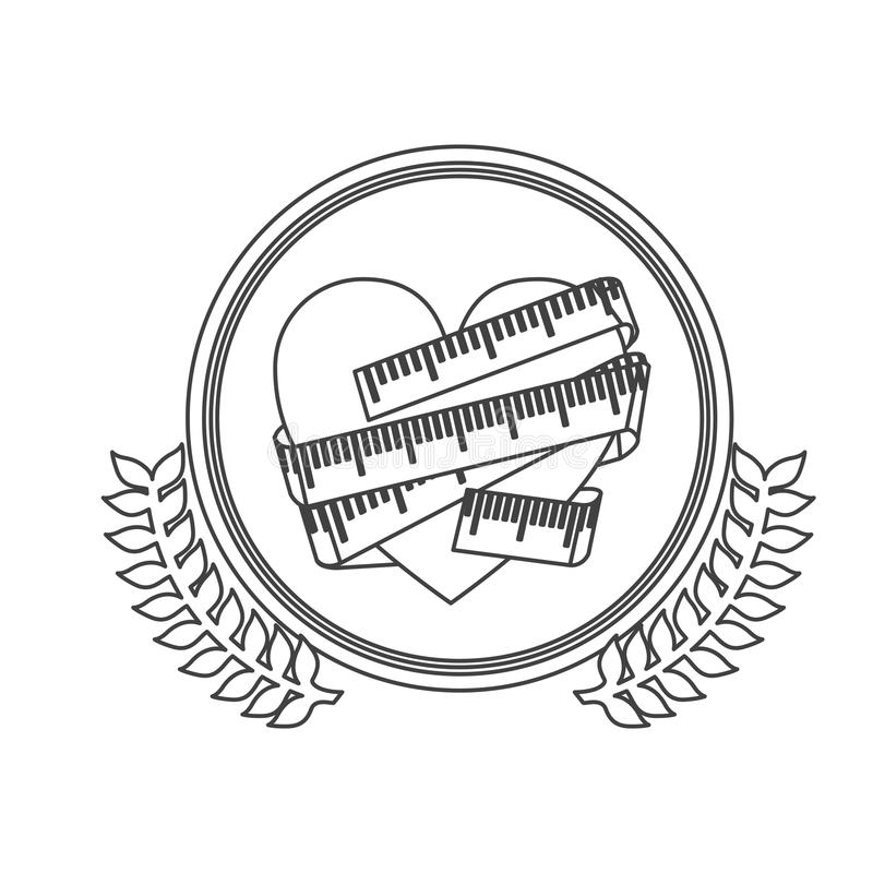 círculo monocromático de la silueta con la rama de olivo y el corazón decorativos con cinta métrica alrededor libre illustration