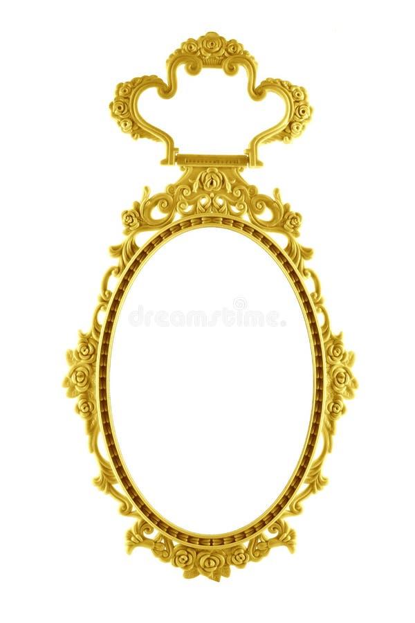 Círculo oval do espelho do quadro do ouro isolado no fundo branco foto de stock royalty free