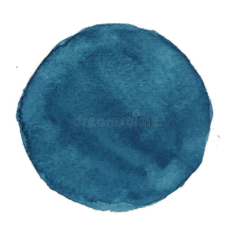 Círculo pintado à mão da aquarela Elementos bonitos do projeto Obscuridade do beira-rio - fundo azul ilustração do vetor
