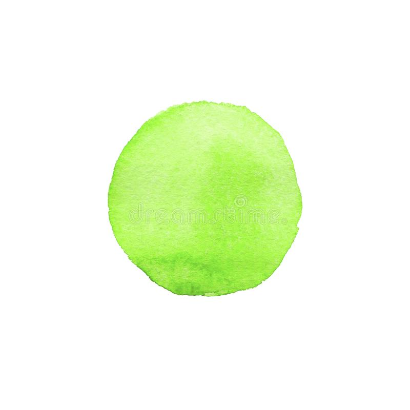 Círculo pintado à mão do verde da aquarela do sumário Elemento bonito para o projeto Fundo da cor ilustração royalty free