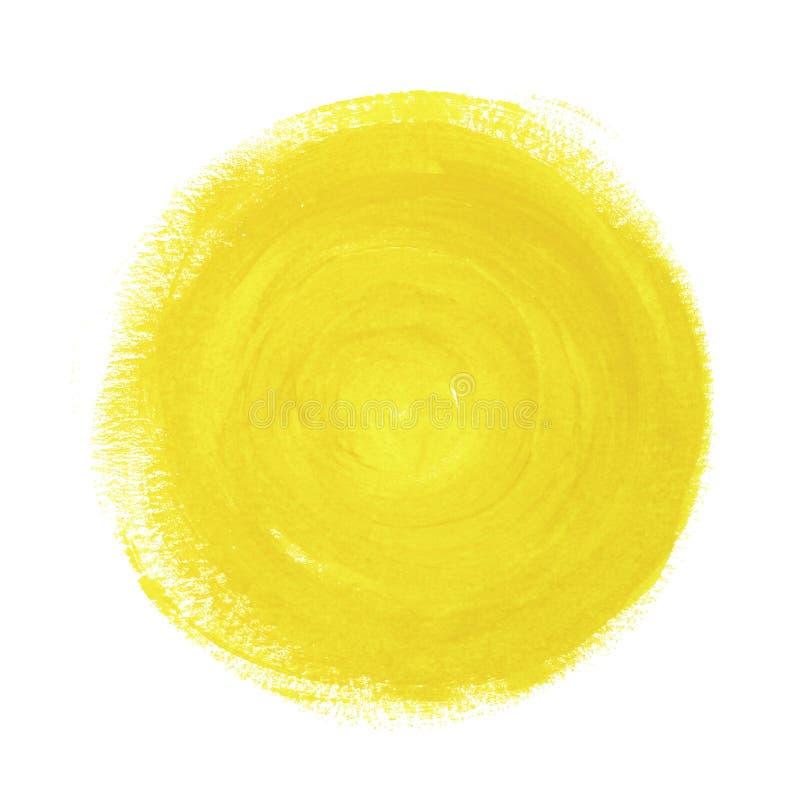 Círculo pintado extracto amarillo en el fondo blanco imagen de archivo