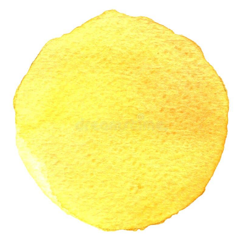 Círculo pintado a mano de la acuarela Elementos del hermoso diseño Fondo amarillo imagenes de archivo