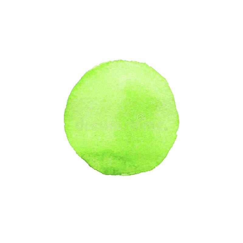 Círculo pintado a mano del verde de la acuarela del extracto Elemento hermoso para el diseño Fondo del color libre illustration