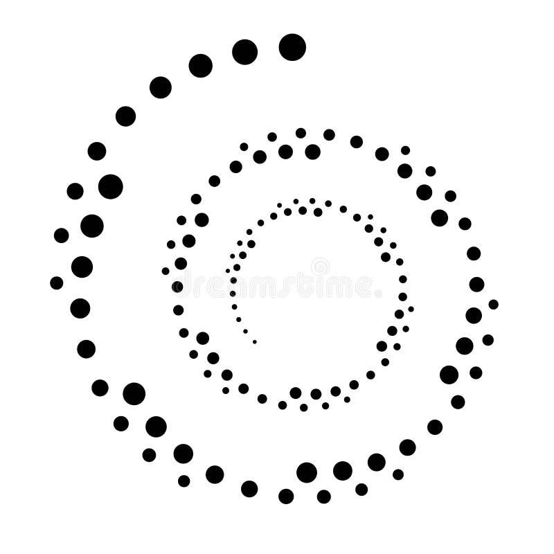 CÍRCULO PONTILHADO GIRO Elementos de intervalo mínimo do projeto Vetor isolado no fundo branco ilustração stock
