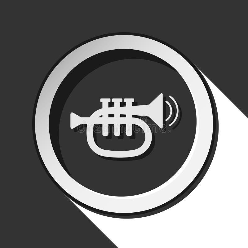 Círculo preto e branco com ícone da trombeta ilustração royalty free