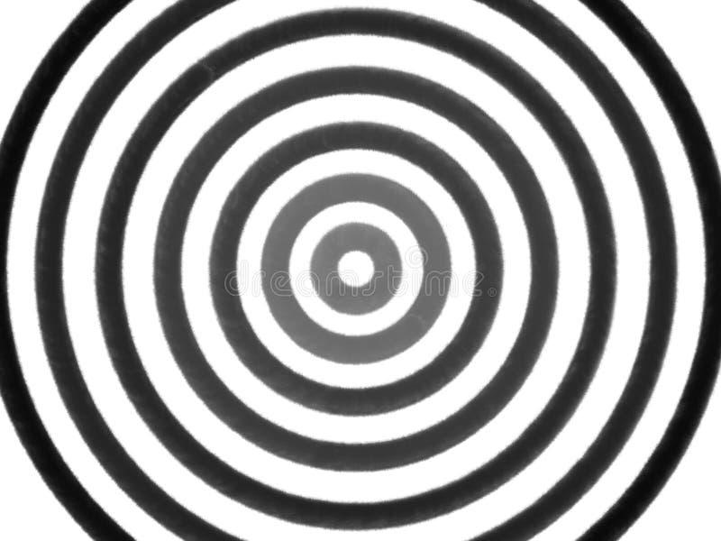 Círculo preto e cinzento hipnótico no fundo branco ilustração stock