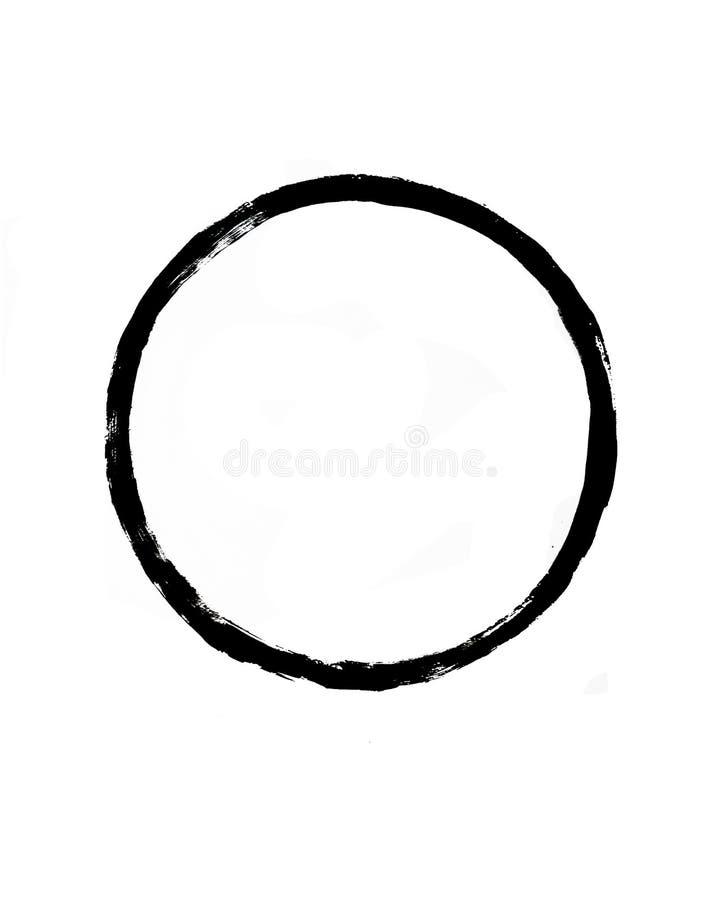 Círculo preto simples no fundo branco Projeto decorativo tirado m?o ilustração stock
