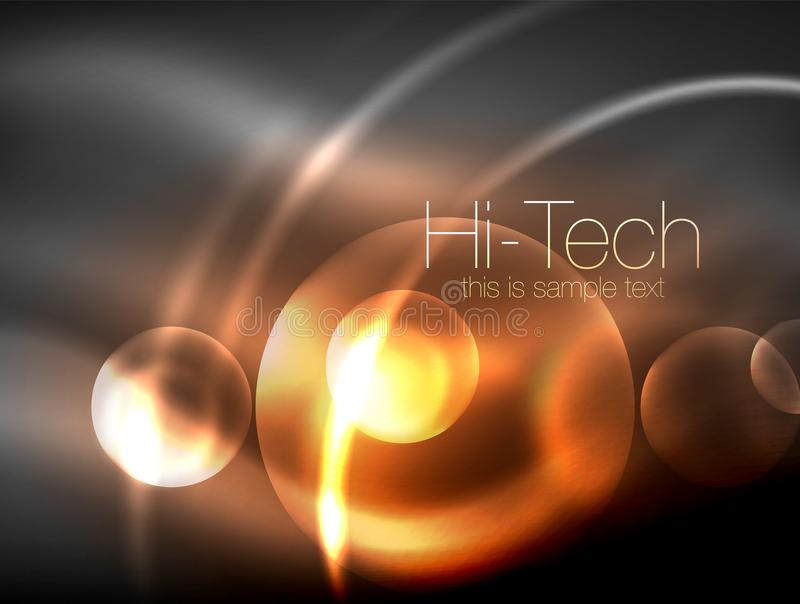 Círculo que brilla intensamente de neón borroso, plantilla moderna de alta tecnología de la burbuja, formas redondas de cristal q libre illustration