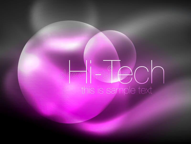 Círculo que brilla intensamente de neón borroso, plantilla moderna de alta tecnología de la burbuja, formas redondas de cristal q ilustración del vector