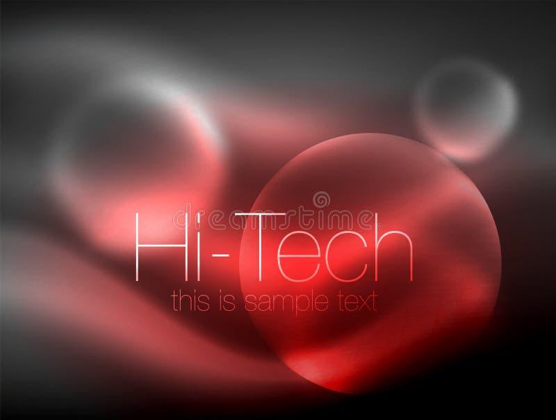 Círculo que brilla intensamente de neón borroso, plantilla moderna de alta tecnología de la burbuja, formas redondas de cristal q stock de ilustración
