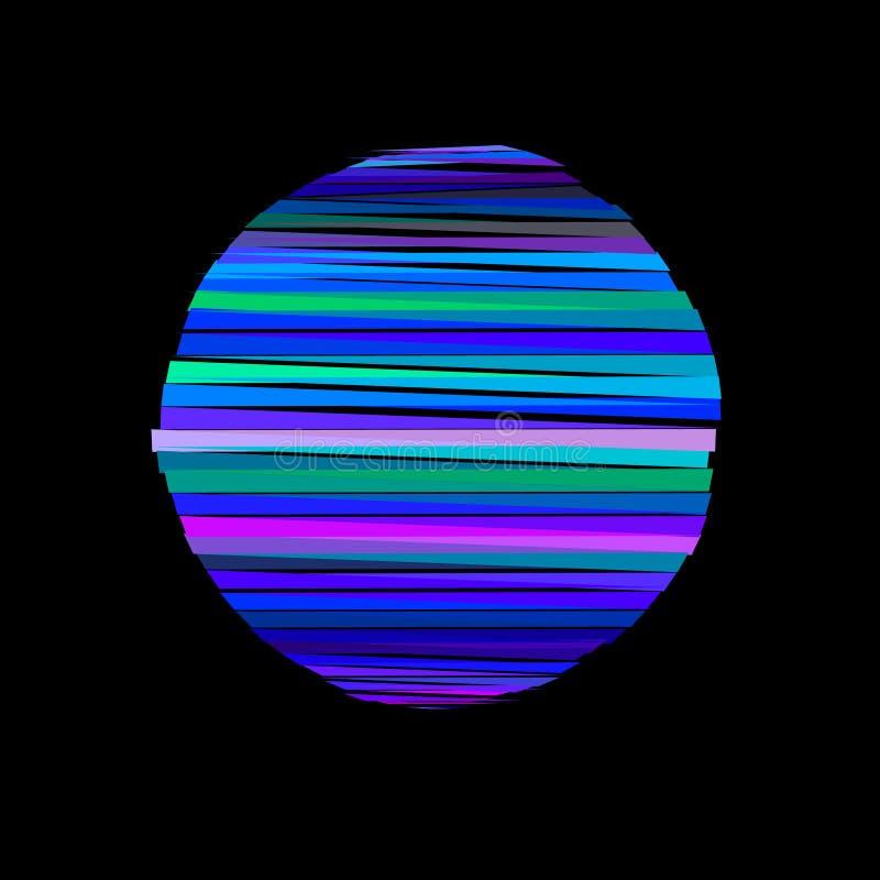Círculo rayado abstracto de polígonos aislado en backgroun negro libre illustration