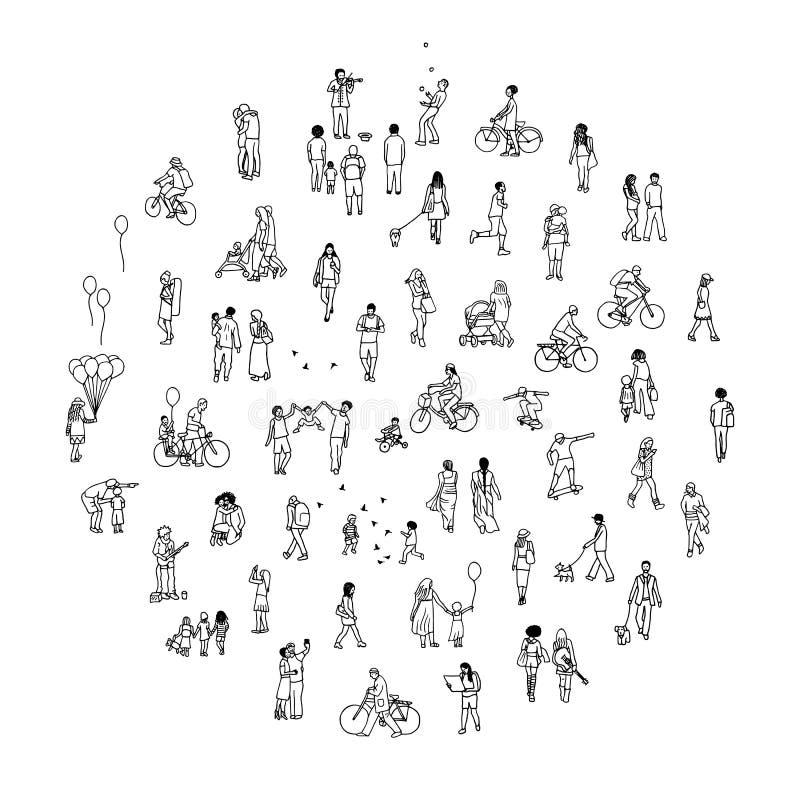 Círculo redondo con la gente minúscula stock de ilustración
