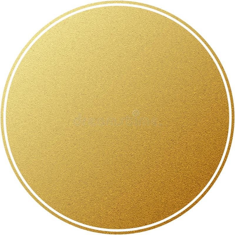 Círculo redondo da etiqueta dourada com a textura do brilho, isolada no branco Eps 10 ilustração royalty free