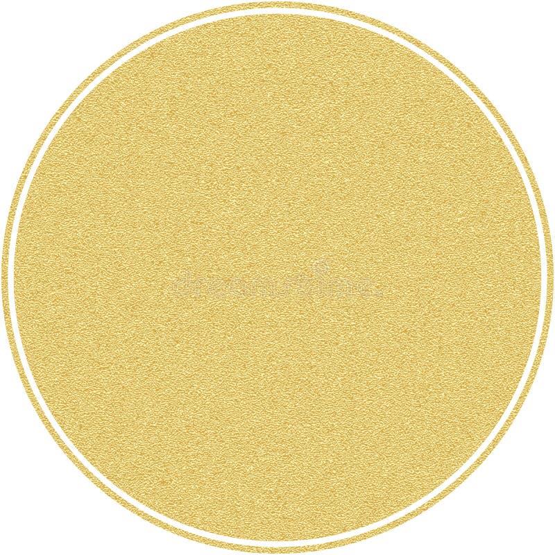Círculo redondo da etiqueta dourada com a textura do brilho, isolada no branco Eps 10 ilustração do vetor