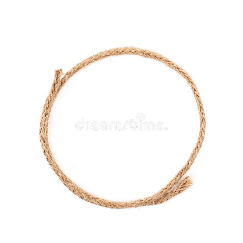 Círculo redondo feito da corda de linho imagens de stock royalty free