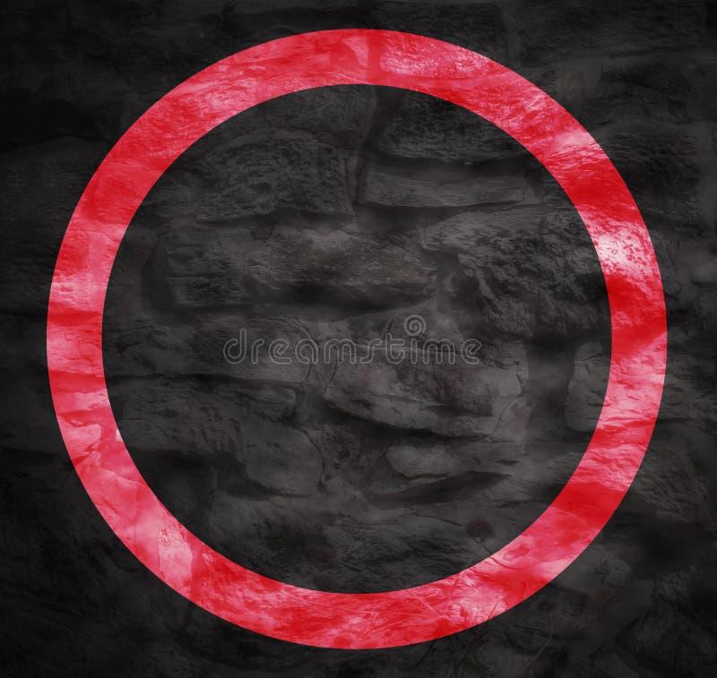 Círculo rojo brillante del grunge puesto sobre un fondo sucio muy oscuro libre illustration