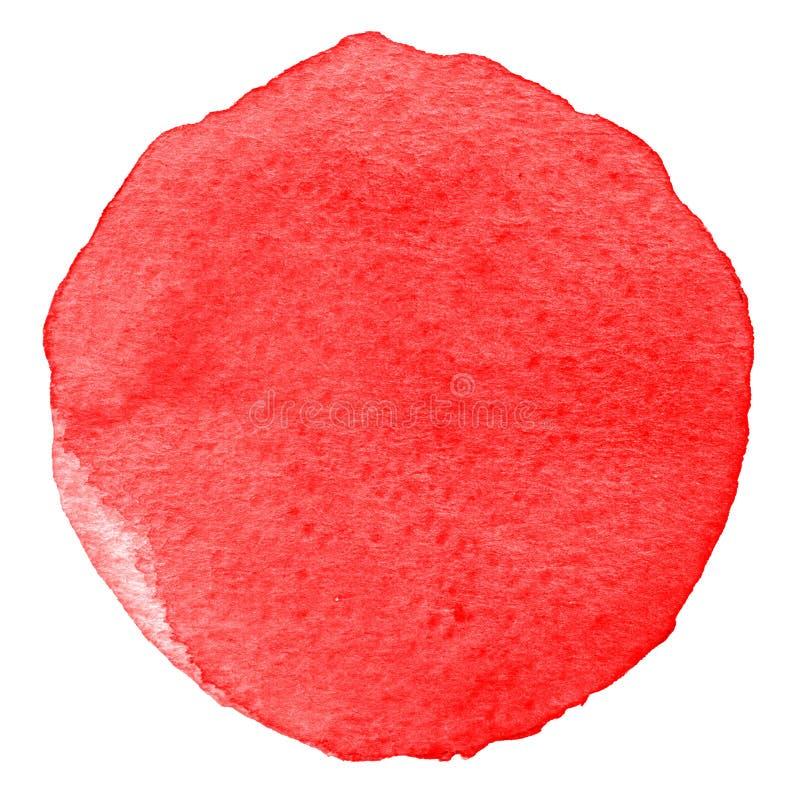Círculo rojo de la acuarela Mancha con la textura de papel Elemento del diseño aislado en el fondo blanco Plantilla abstracta dib fotografía de archivo