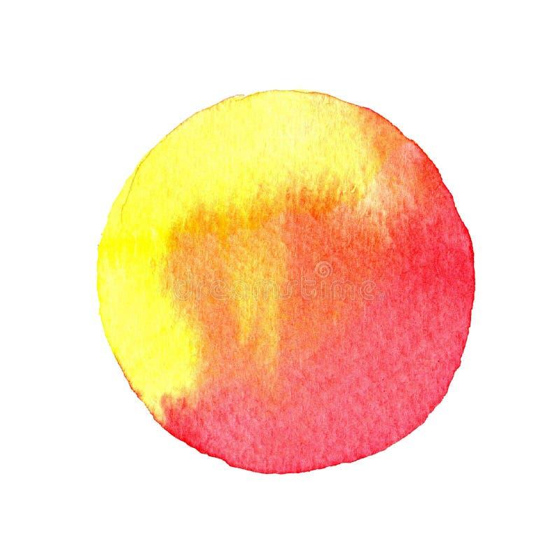 Círculo rojo y amarillo pintado con las acuarelas aisladas en un fondo blanco watercolor stock de ilustración