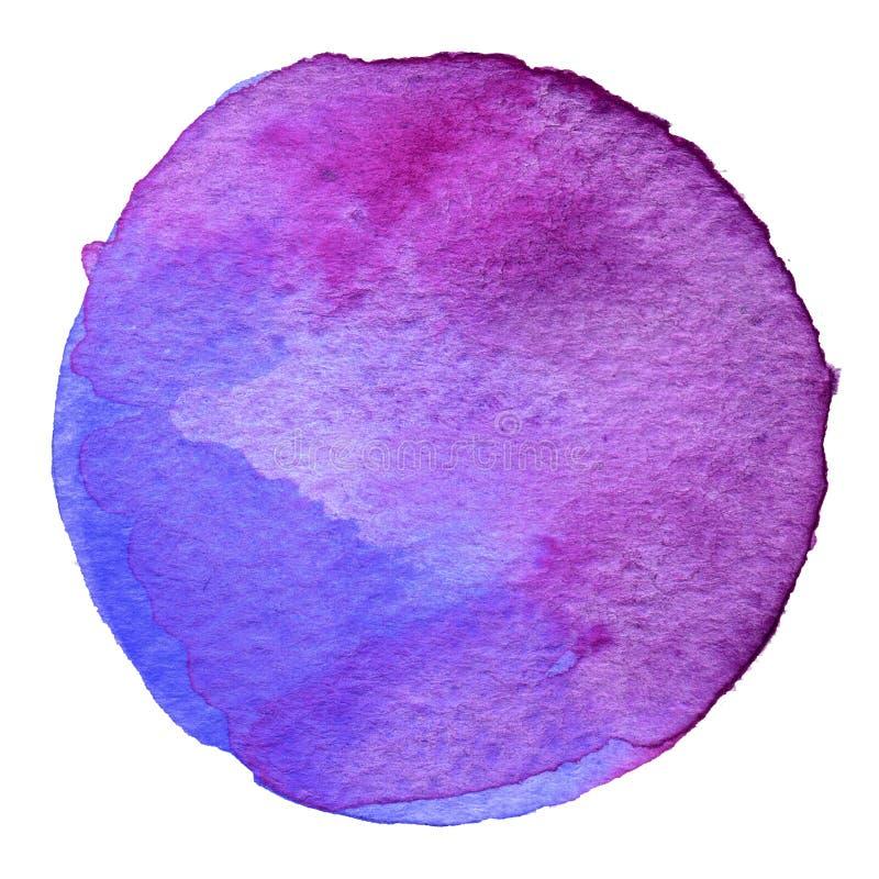 Círculo roxo da aquarela Mancha com textura de papel Elemento do projeto isolado no fundo branco Molde abstrato tirado mão ilustração do vetor