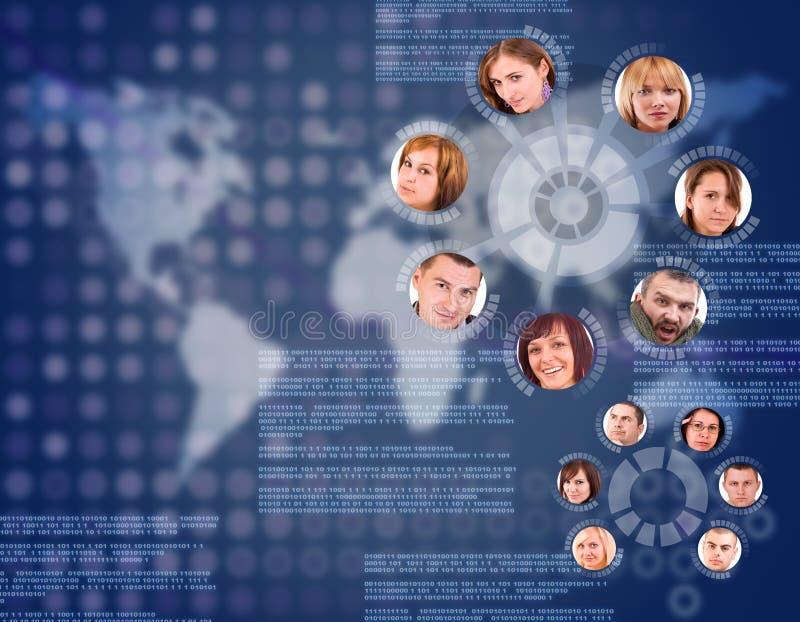 Círculo social de la red ilustración del vector