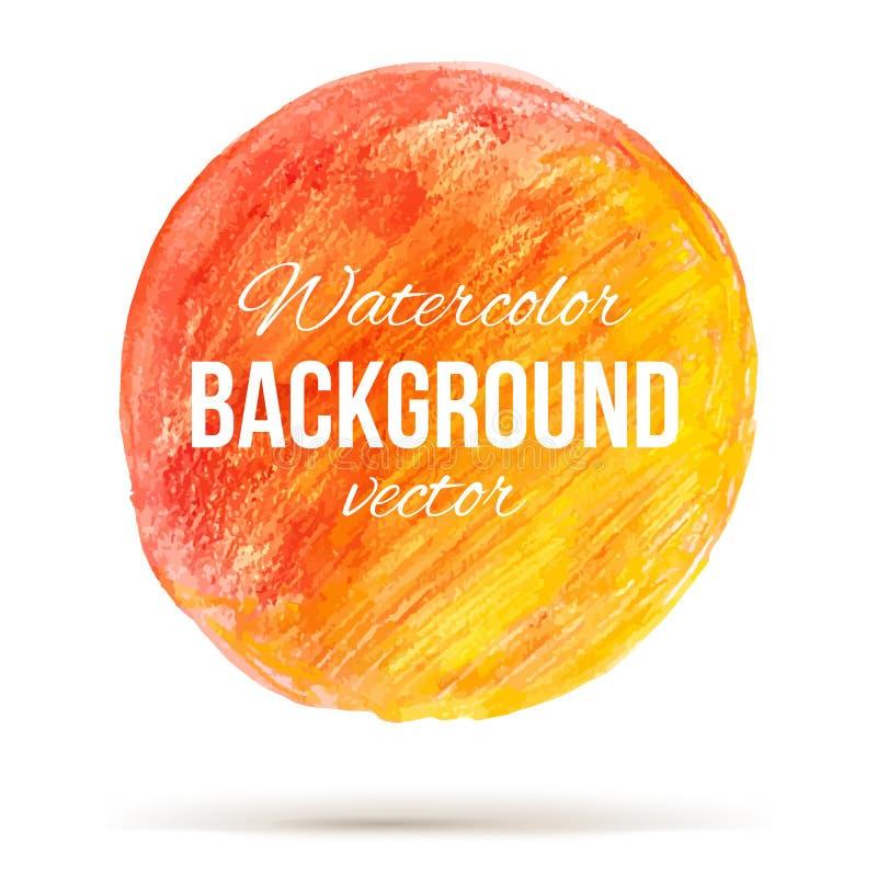 Círculo soleado de la acuarela con la transición del color de rojo a welloy ilustración del vector