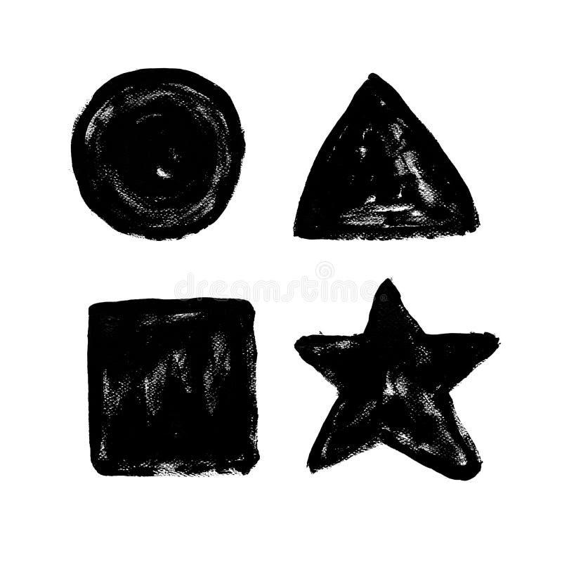 Círculo, triángulo, rectángulo, estrella Poste interior exhausto de la mano abstracta stock de ilustración