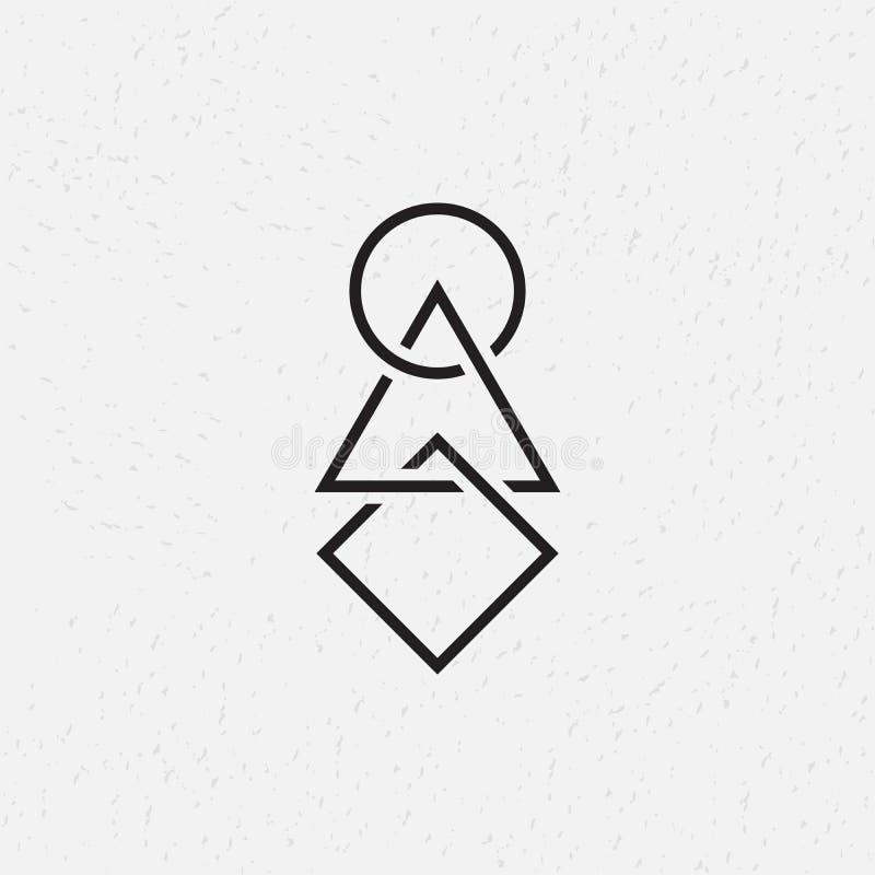 Círculo, triángulo y cuadrado entrelazados, símbolos geométricos ilustración del vector