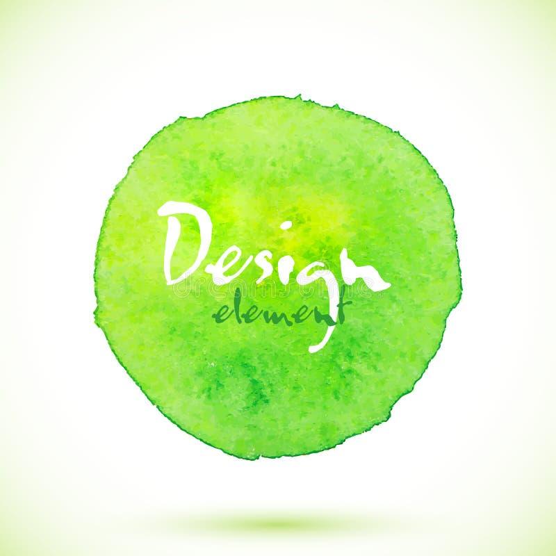 Círculo verde da aquarela, elemento do projeto do vetor ilustração stock