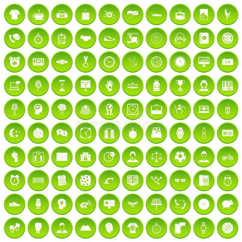 100 círculo verde fijado del reloj iconos stock de ilustración