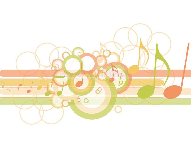 Círculos abstractos con las notas de la música stock de ilustración